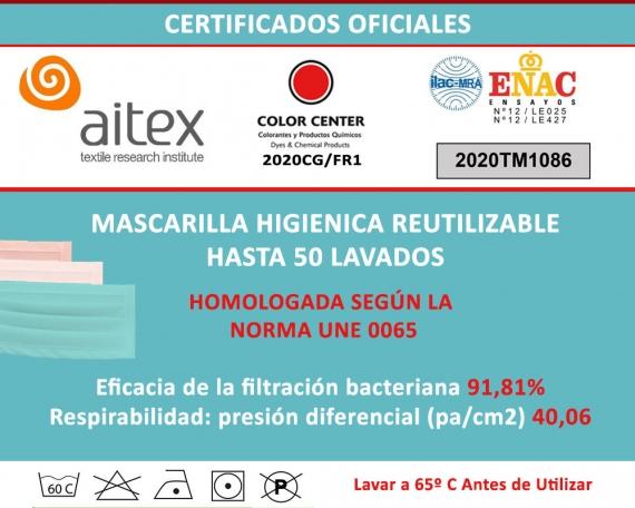 Mascarillas Higiénicas Reutilizables Homologadas Personalizadas